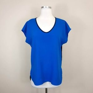 Calvin Klein Blue Short Sleeve High Low Top